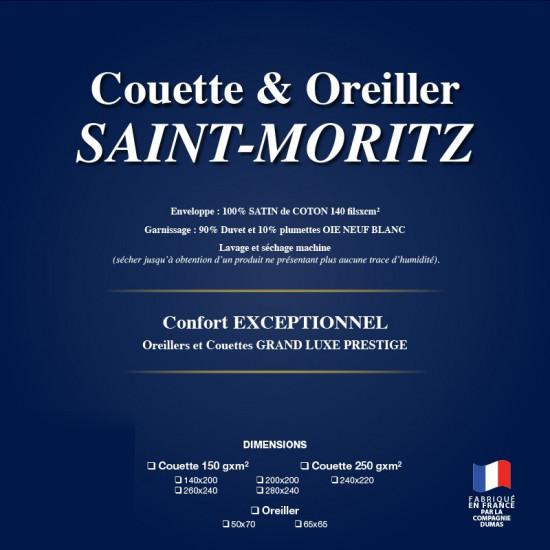 Oreiller Haut Luxe 65x65 Saint Moritz 90% Duvet d'Oie Extra Blanc Neuf