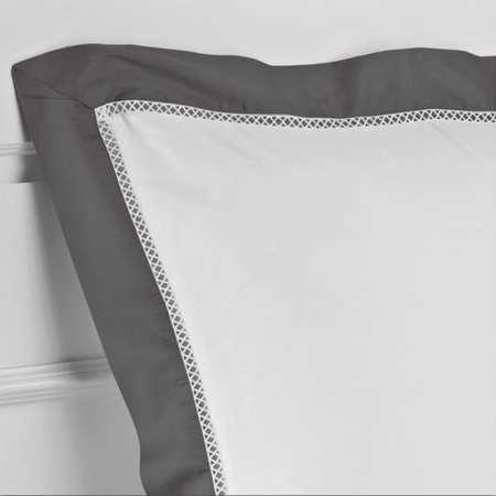 Taie d'Oreiller 50x70 Jour Croisé Luxe Satin de Coton 120 fils/cm² Trianon