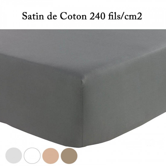 drap housse 140x190 satin de coton prestige 240 fils cm la compagnie du blanc. Black Bedroom Furniture Sets. Home Design Ideas