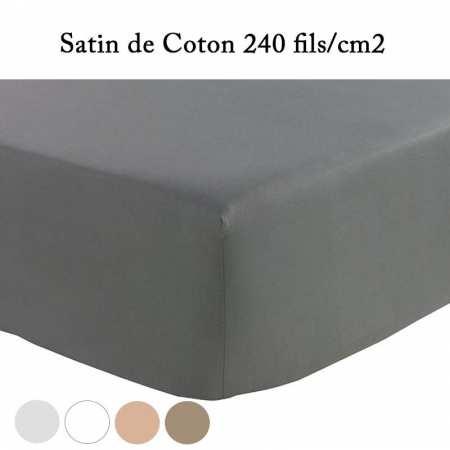 Drap Housse 90x200 Satin de Coton Prestige 240 Fils/cm² Blanc
