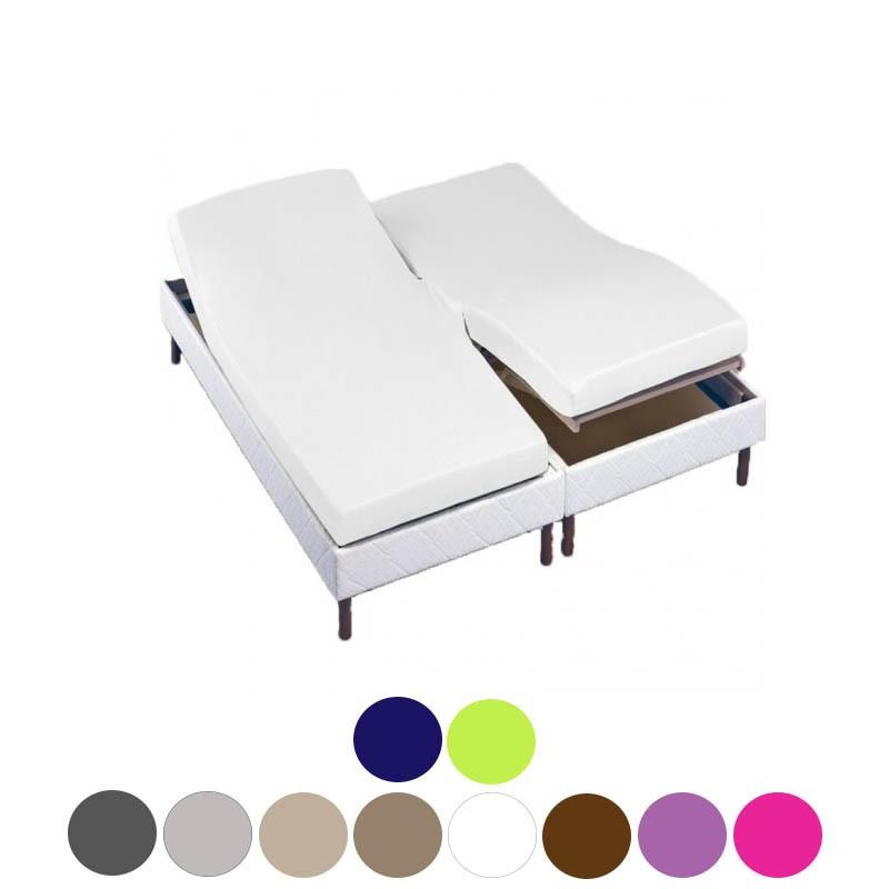 drap housse t te et pied relevable 160x200 tpr 2x80x200 la compagnie du blanc. Black Bedroom Furniture Sets. Home Design Ideas