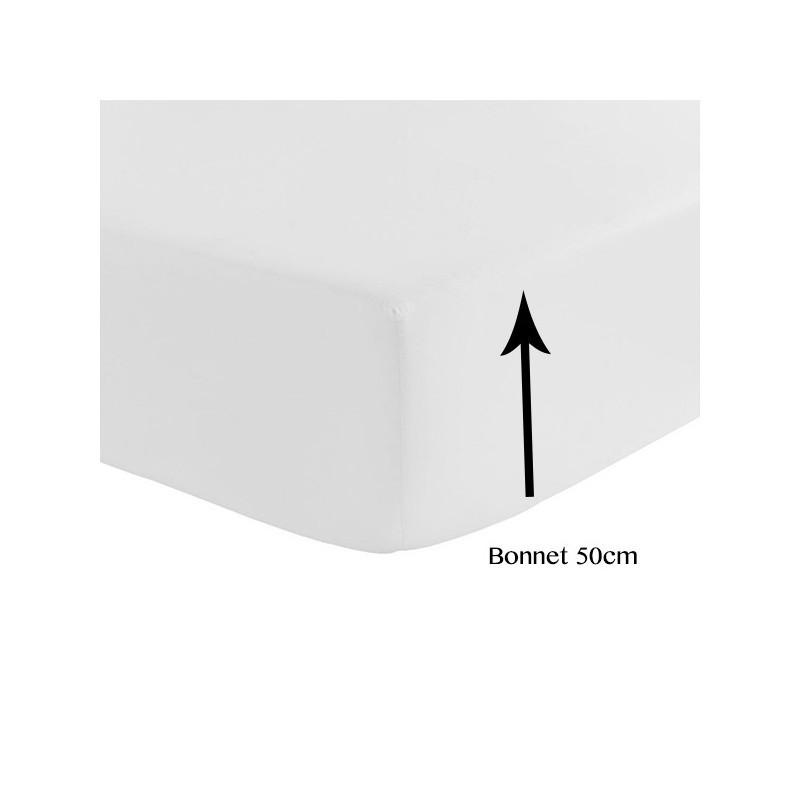 drap housse satin de coton 120 fils/cm² bonnet 50 cm - la