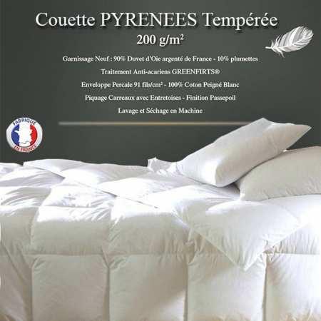 """Couette Duvet """"Pyrénées"""" 140x200 90% Duvet Oie Neuf de France 200gr/m² TEMPEREE"""