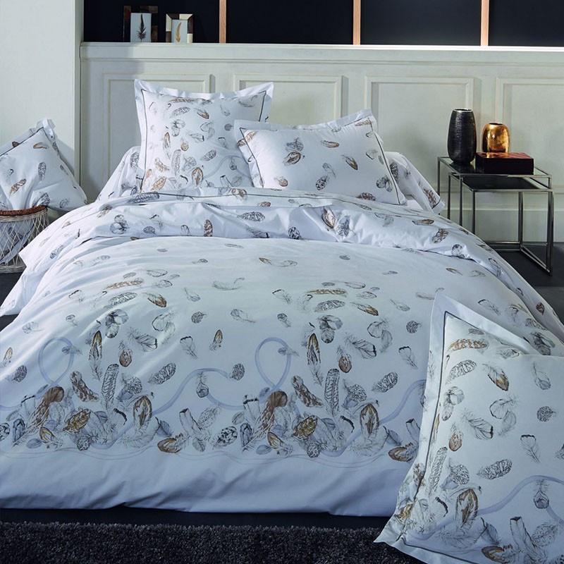 housse de couette motif plumes en percale de coton tradilinge. Black Bedroom Furniture Sets. Home Design Ideas