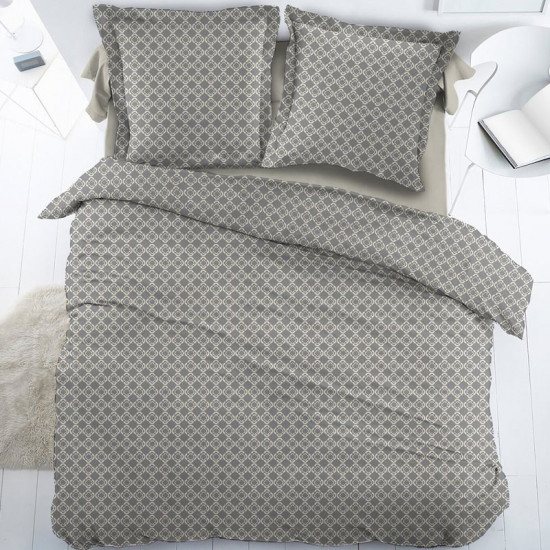 parure de couette percale gris perle mosaique. Black Bedroom Furniture Sets. Home Design Ideas