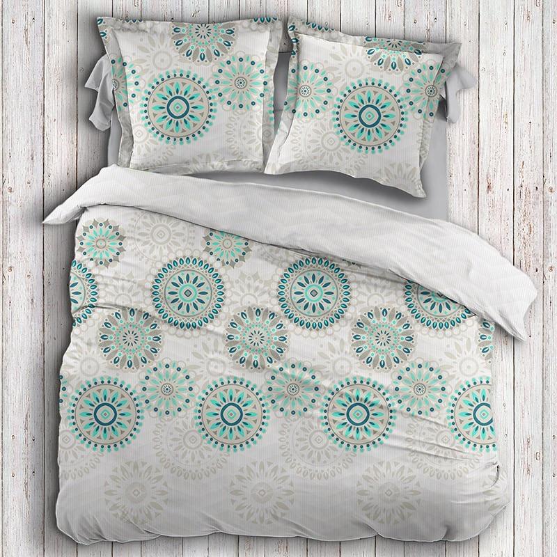 housse de couette satin de coton rosace turquoise. Black Bedroom Furniture Sets. Home Design Ideas