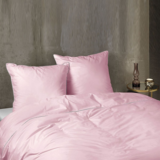 parure de couette percale rose avec pompons gris. Black Bedroom Furniture Sets. Home Design Ideas