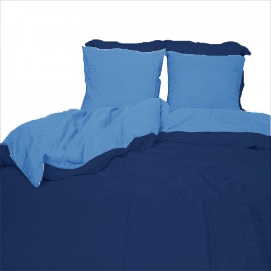 Housse de Couette en Métis Lavé Bleu Marine / Bleu Lavande