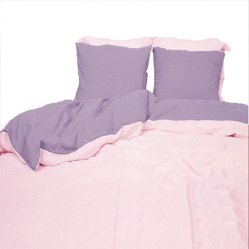 Housse de couette en m tis lav coton et lin rose pale et mure - Housse de couette rose pale ...