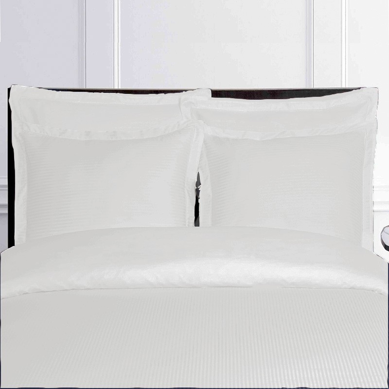 housse de couette ray satin de coton jacquard blanche. Black Bedroom Furniture Sets. Home Design Ideas