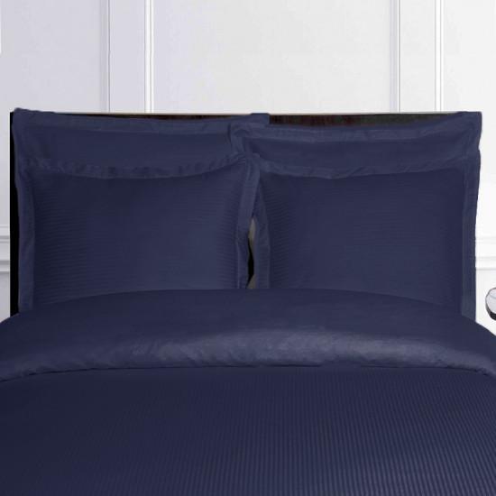 housse de couette bleu marine satin de coton fines rayures. Black Bedroom Furniture Sets. Home Design Ideas