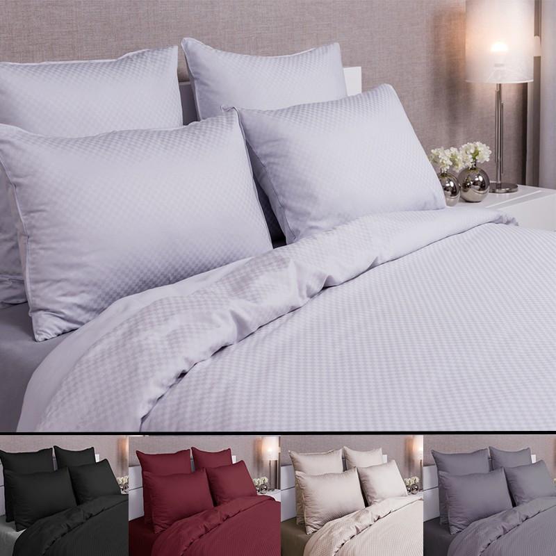 taie d 39 oreiller 65x65 jacquard damier luxe la compagnie du blanc. Black Bedroom Furniture Sets. Home Design Ideas