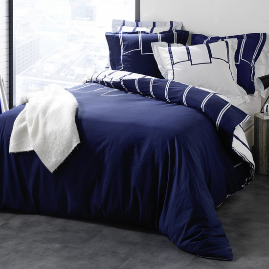 parure de couette riviera bleu marine. Black Bedroom Furniture Sets. Home Design Ideas