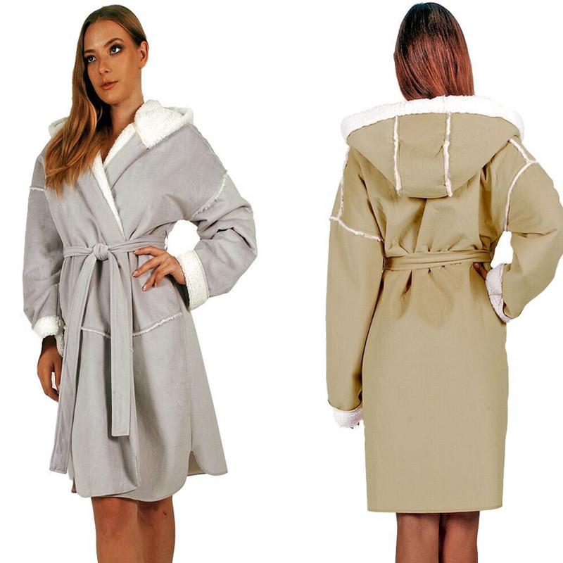 Robe de chambre peau laine la compagnie du blanc - Robe de chambre en laine ...