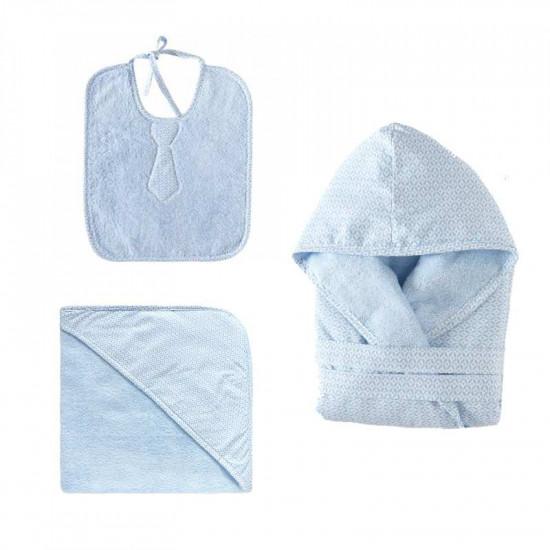 peignoir de bain enfant doubl aldo bleu ciel la compagnie du blanc. Black Bedroom Furniture Sets. Home Design Ideas