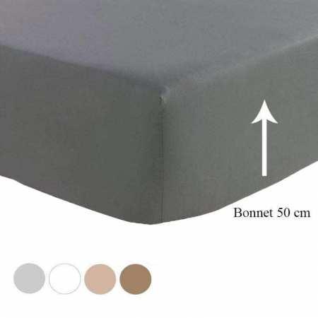 Drap Housse Satin de Coton Prestige 240 fils/cm² BONNET 50 cm
