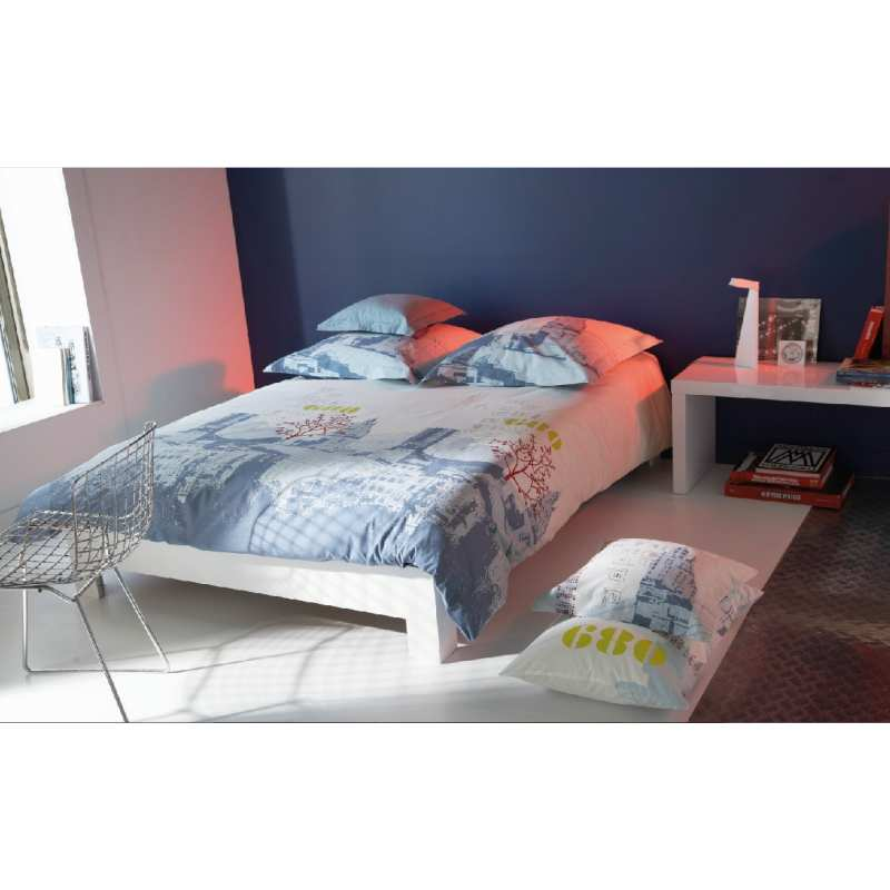 housse de couette new york orage 240x260 2 taies 65x65 la compagnie du blanc. Black Bedroom Furniture Sets. Home Design Ideas