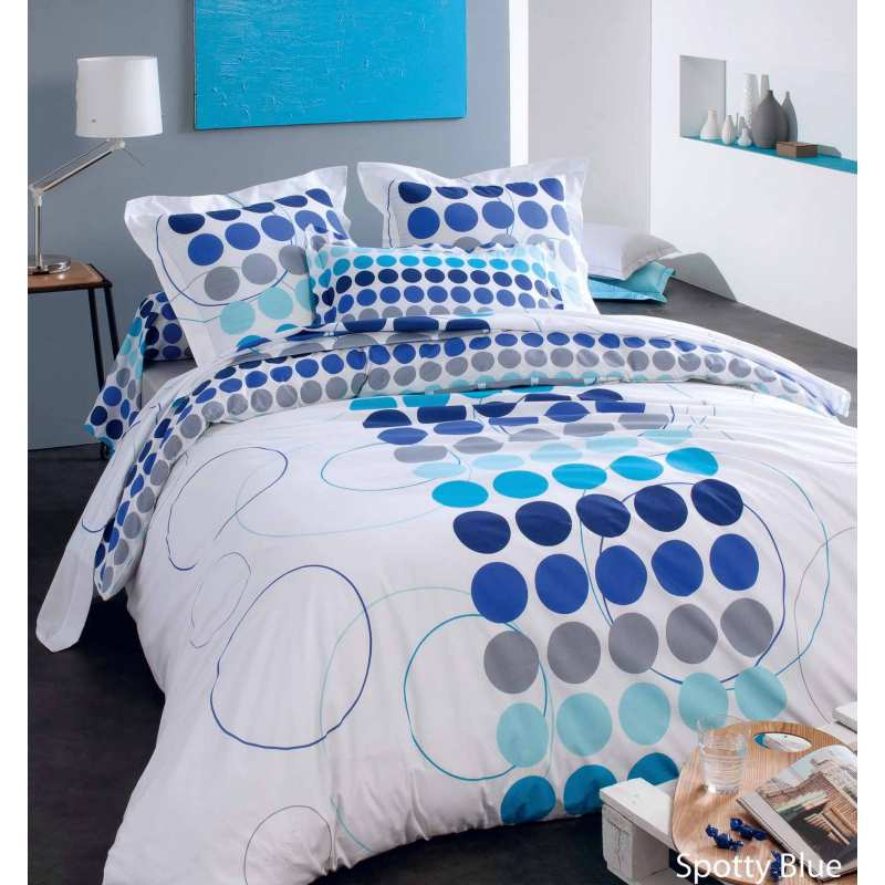 parure de draps spotty bleu 4 pi ces dh140 dp240 2to. Black Bedroom Furniture Sets. Home Design Ideas