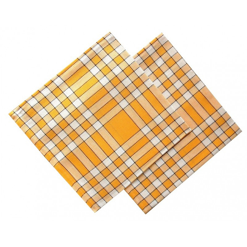 Lot de 6 serviettes de table 50x50 carreaux normands jaune - Solde du blanc ...