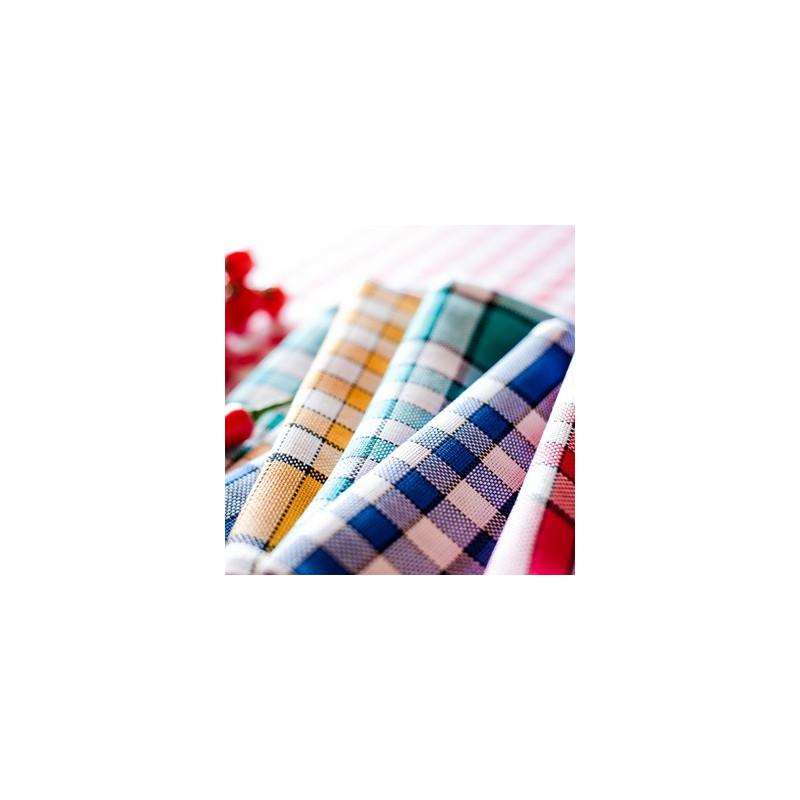 Lot de 6 serviettes de table 50x50 carreaux normands jaune la compagnie du blanc - Serviette de table carreaux ...