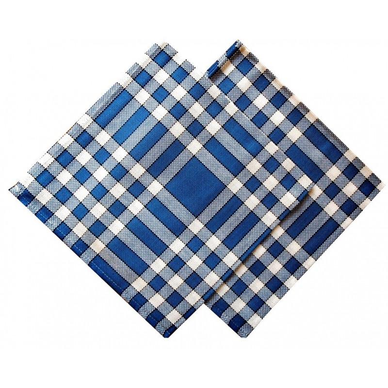 Lot de 6 serviettes de table 50x50 carreaux normands bleu - Serviette de table carreaux ...