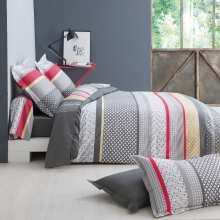 Housse de Couette Andrew Gris Percale 200x200 + 2 taies 65x65