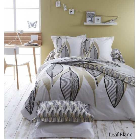 Housse de Couette Leaf Blanc 200x200 + 2 taies 65x65