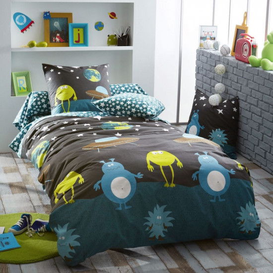Housse de Couette Monsters 200x200 + 2 taies 65x65