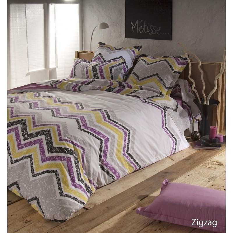parure de draps zigzag lie de vin 4 pi ces dh140 dp240 2to la compagnie du blanc. Black Bedroom Furniture Sets. Home Design Ideas
