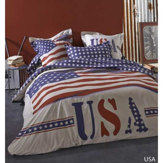 Housse de Couette USA 200x200 + 2 taies 65x65