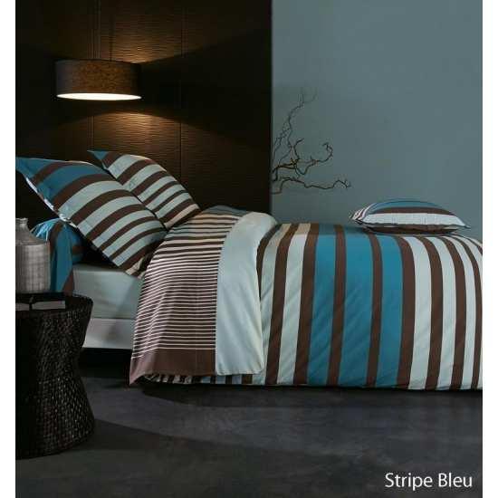 housse de couette percale stripe bleu 220x240 2 taies 65x65 la compagnie du blanc. Black Bedroom Furniture Sets. Home Design Ideas