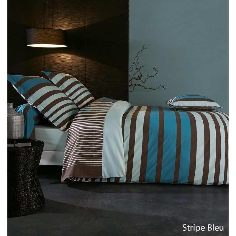 Housse de couette percale stripe bleu 220x240 2 taies 65x65 la compagnie du blanc - Housse de couette percale 220x240 ...