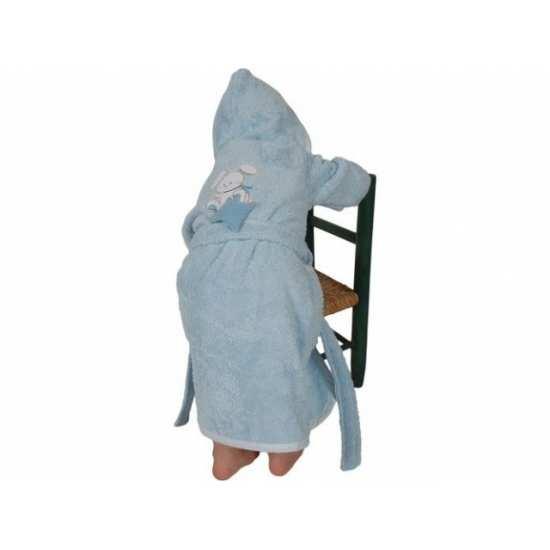 Peignoir de Bain Enfant Brodé Doudou Bleu