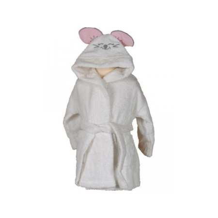 Peignoir de Bain Enfant Brodé Pink Mouse fond blanc