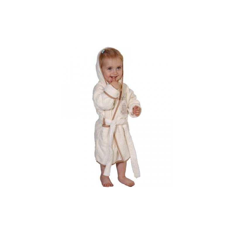 peignoir de bain enfant brod girafon la compagnie du blanc. Black Bedroom Furniture Sets. Home Design Ideas