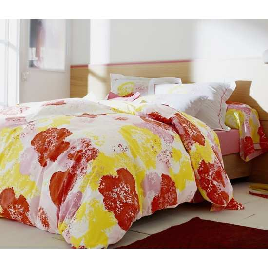 Housse de Couette Bloom Framboise 200x200 + 2 taies 65x65
