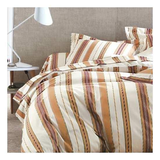Housse de Couette Oxford Terracota 200x200 + 2 taies 65x65