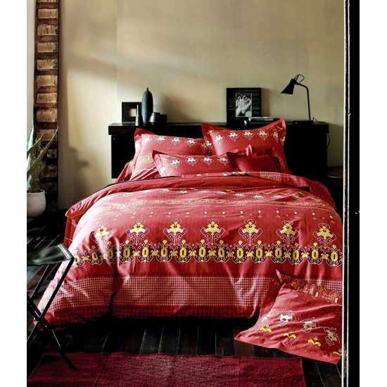 Housse de Couette India Rouge 200x200 + 2 taies 65x65