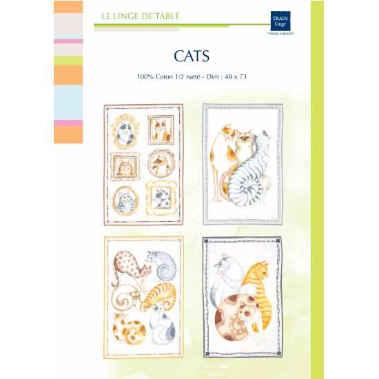 "Lot de 4 Torchons ""Cats"""