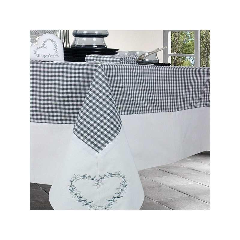 nappe de table neuchatel broderie coeur la compagnie du blanc. Black Bedroom Furniture Sets. Home Design Ideas