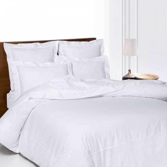 Housse de Couette Versailles Blanc 220x240 + 2 taies 65x65
