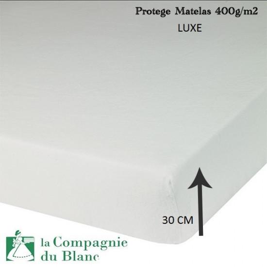 protege matelas molleton luxe 400g m2 bonnet 30 cm la compagnie du blanc. Black Bedroom Furniture Sets. Home Design Ideas