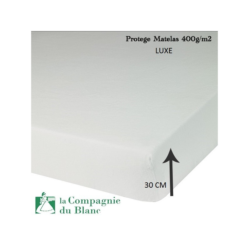 protege matelas molleton luxe 400g m2 bonnet 30 cm la compagnie du blanc. Black Bedroom Furniture Sets. Home Design Ideas