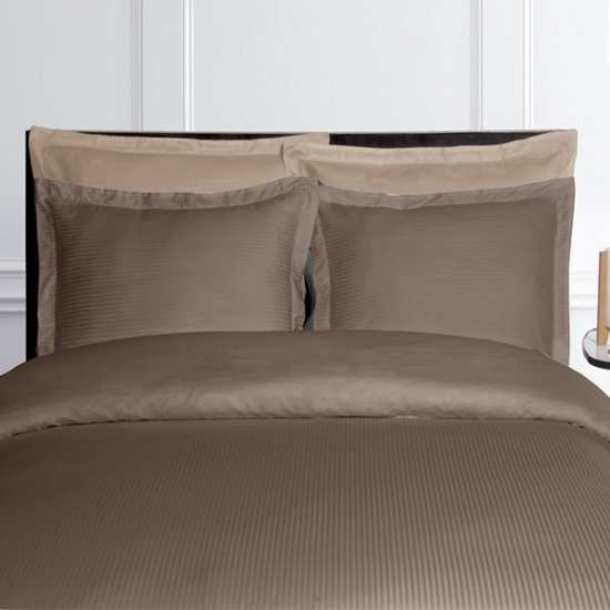 Parure de Draps 4 Pieces Fines Rayures Taupe (DH140_DP240_2TO)