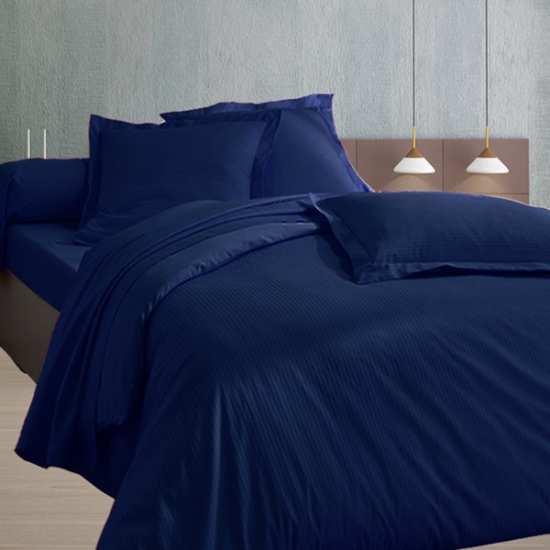 Housse de Couette 200x200 Satin 120 fils/cm2 Fines Rayures Bleu Marine