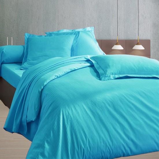 Housse de Couette 220x240 Satin 120 fils/cm2 Fines Rayures Turquoise