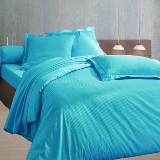 Housse de Couette 240x280 Satin 120 fils/cm2 Fines Rayures Turquoise