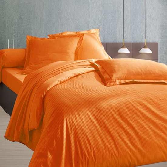 Housse de Couette 240x280 Satin 120 fils/cm2 Fines Rayures Orange