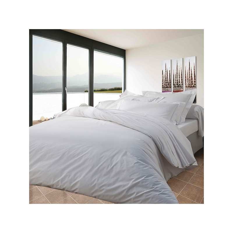 housse de couette 200x200 percale polycoton 71 fils cm2 la compagnie du blanc. Black Bedroom Furniture Sets. Home Design Ideas
