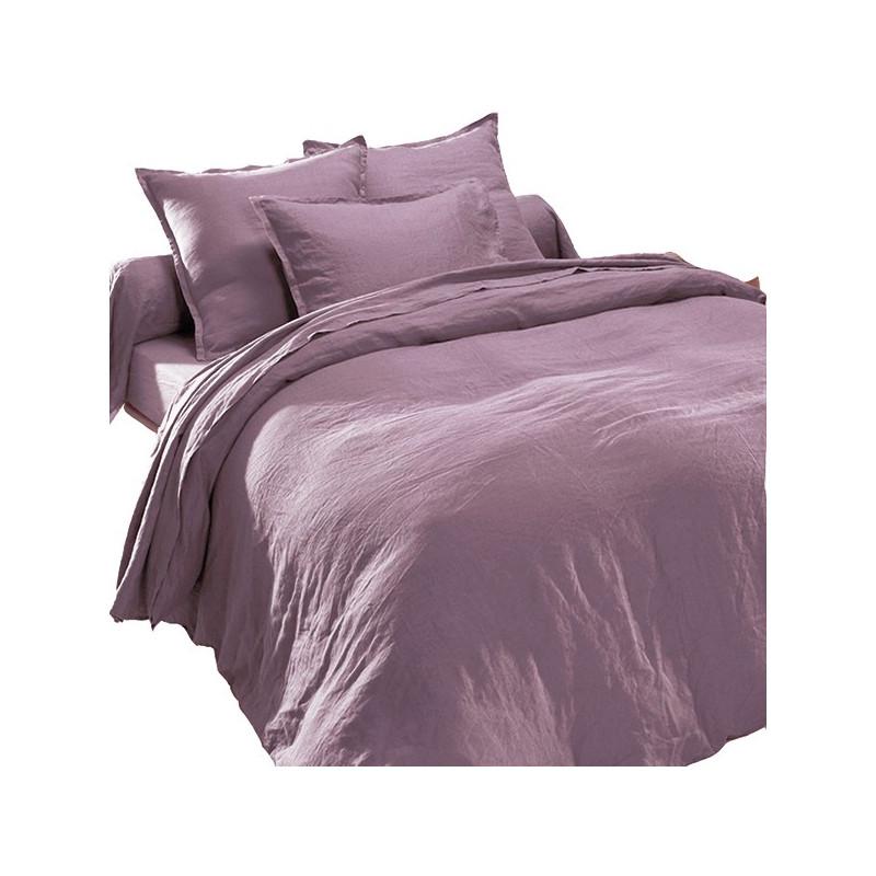 housse de couette en lin lav mauve mure. Black Bedroom Furniture Sets. Home Design Ideas
